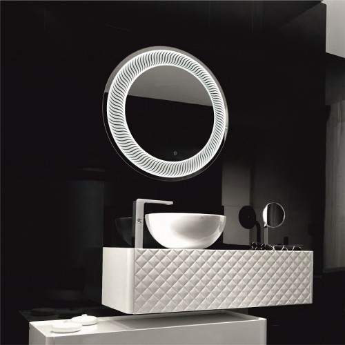 Зеркало в ванную комнату с контурной подсветкой светодиодной лентой Затмение